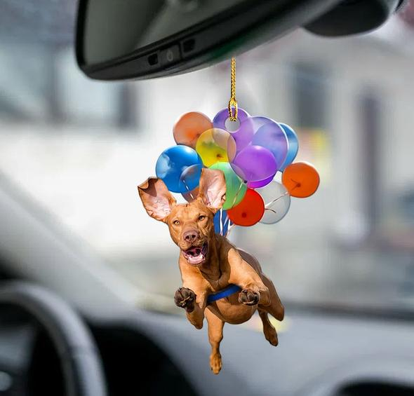 Vizsla fly with bubbles dog hanging ornament