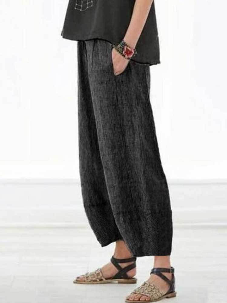 Women Pure Color Loose Casual Straight Pants