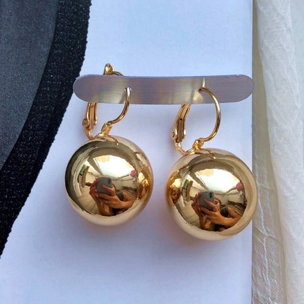 Gold Silver Plated Earrings Fashion Jewelry Big Round Ball Pendant Earrings for Women Gifts Wedding Accessory