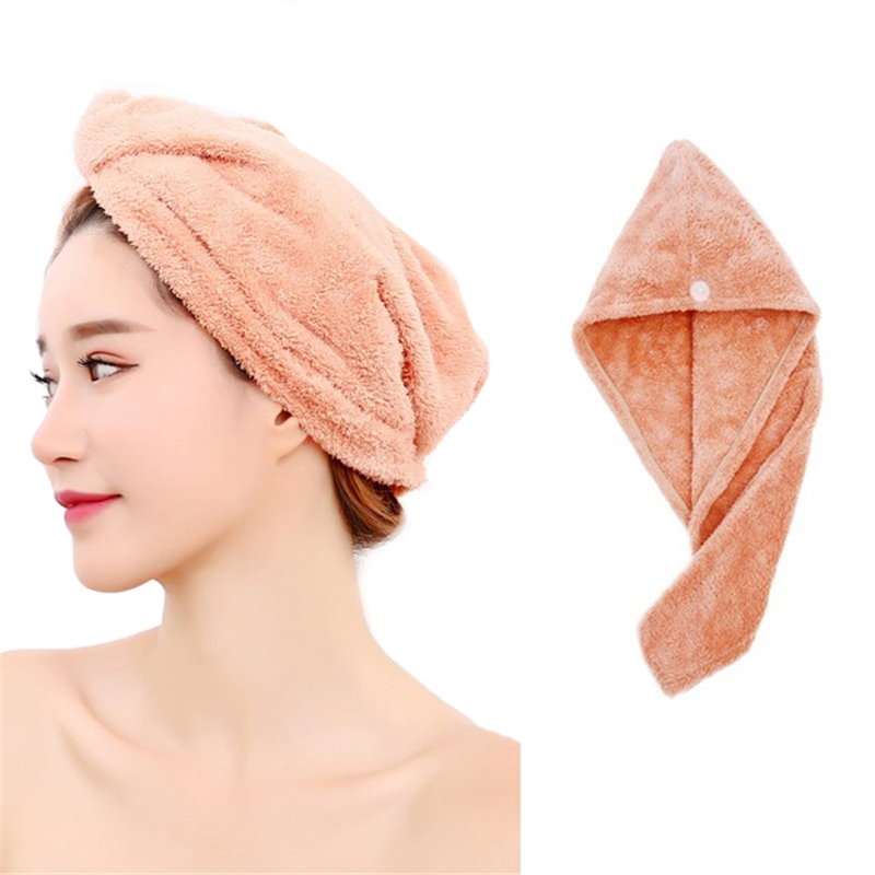 Quick Dry Hair Hat Microfiber Superb Absorbent  with a Secure Button
