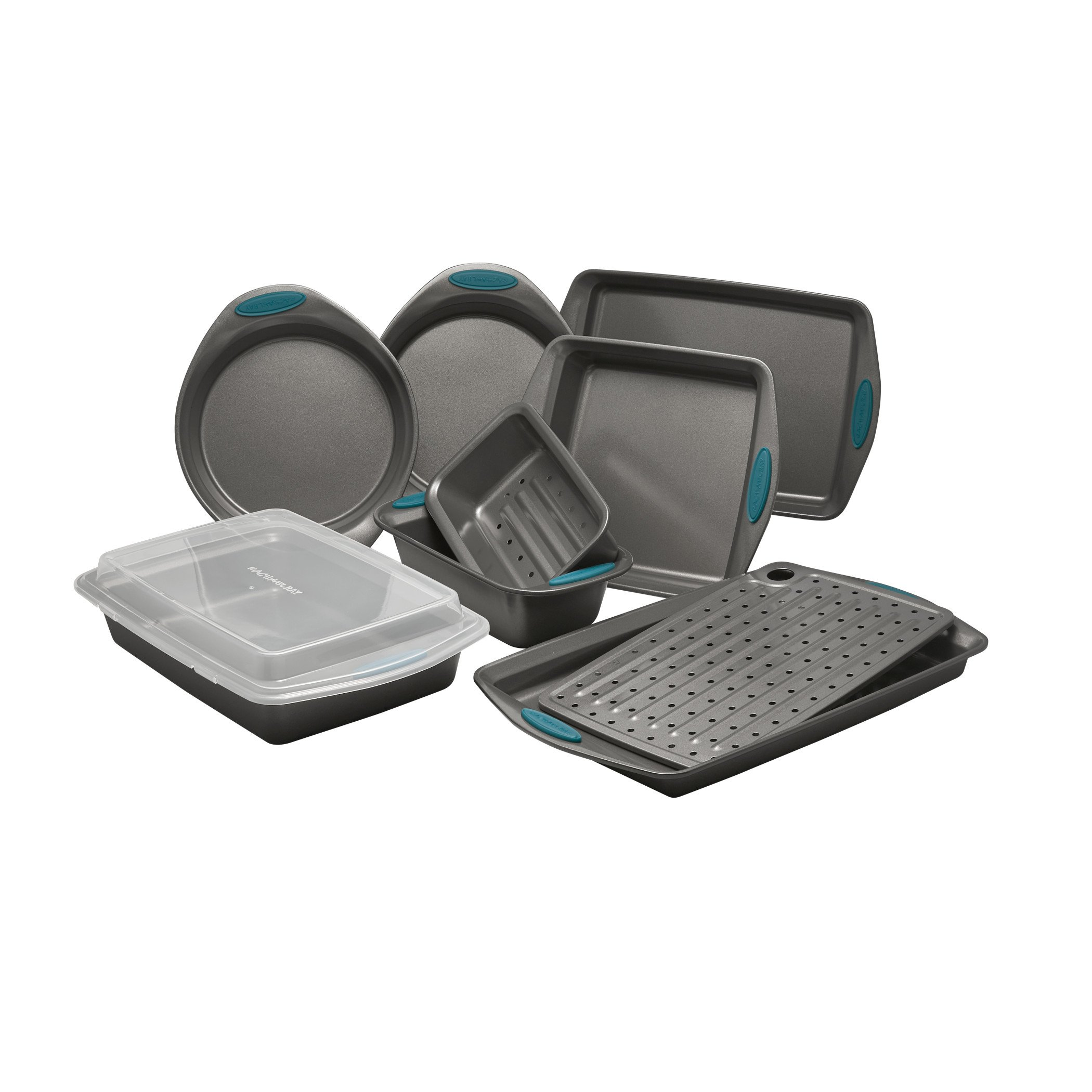 10 Piece Yum-o! Nonstick Bakeware Oven Lovin' Bakeware Set, Gray with Marine Blue Handles-Bakeware Sets 3.24