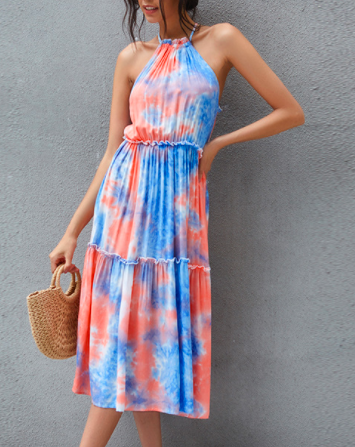 Fashion hot style sexy bandage strapless bow tie-dye dress long skirt dress