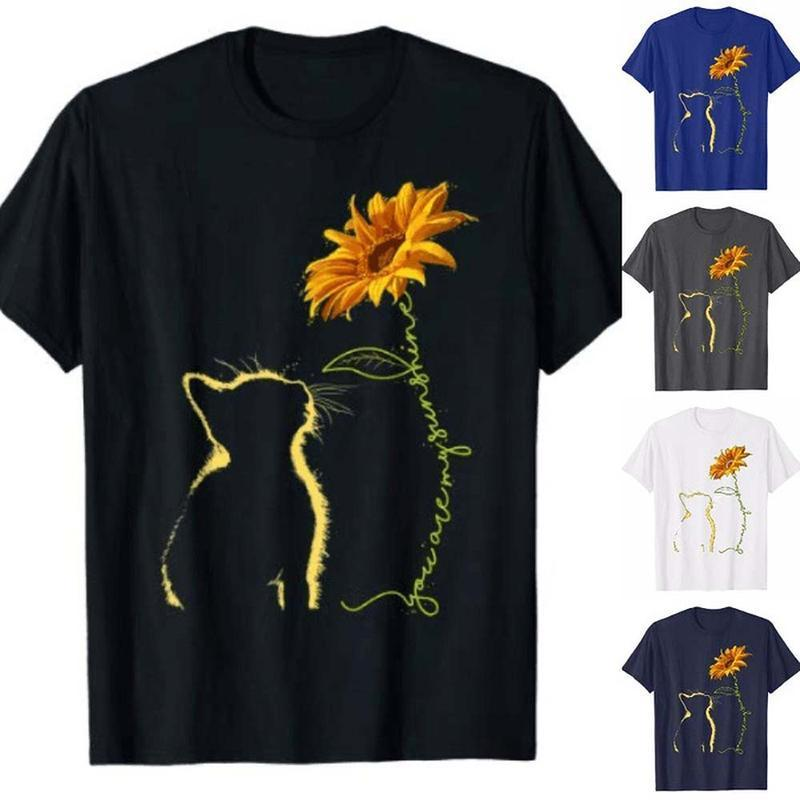 Cat And Sunflower Summer Loose Shirts & Tops