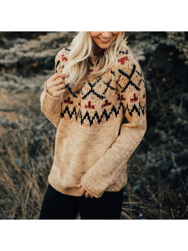 Vintage Round Neck Printed Colour Long Sleeve Sweater