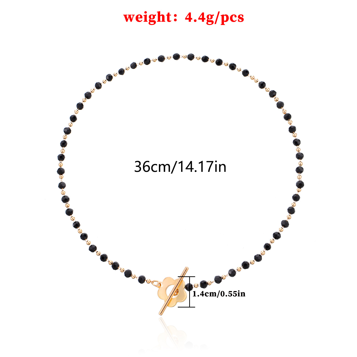 Black crystal flower clavicle chain