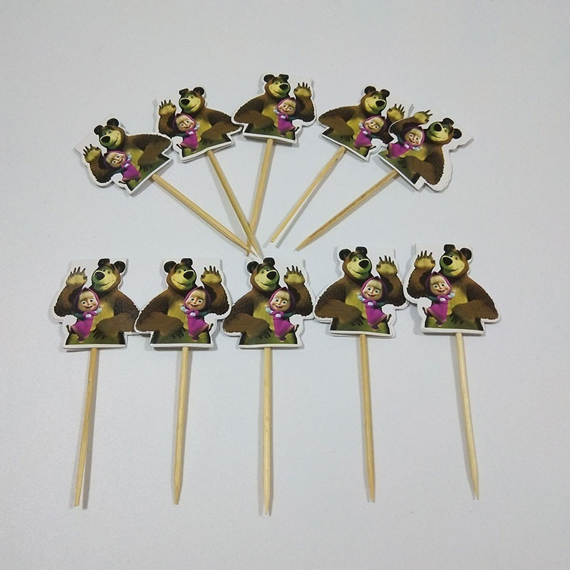 10pcs/pack Cartoon Brown Masha and Bear Design Wooden Toothpick Cupcake Toppers Kids Cartoon Party Cake Decoration