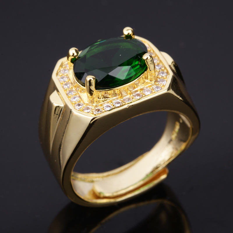New Domineering Inlaid Emerald Oval Men's Open Ring