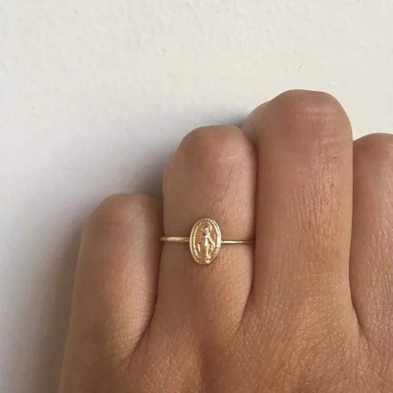 Virgin Mary Rings Blessed Mother Mary Gold Christening Jewelry Silver Catholic Gift Size US 6-10