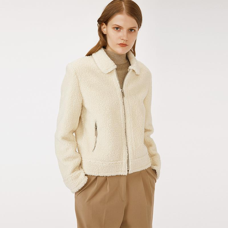 high quality OEM and ODM service wool blended woman cropped coat with pockets ivory color-Casual Outwear 2.11