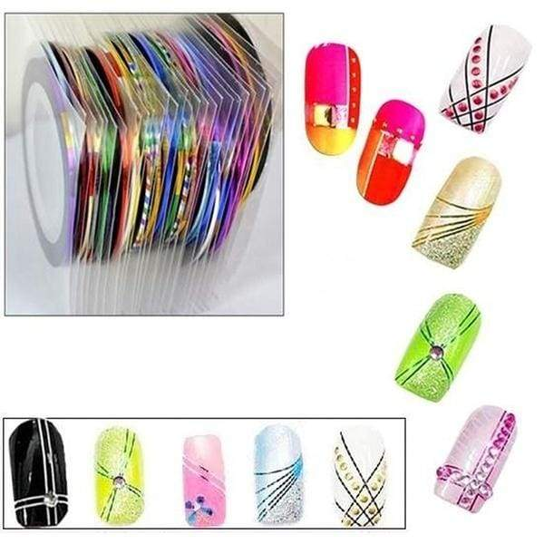 New 30Pcs Stickers Striping Tapes Mixed Color Nail Art Rolls Pretty UV Gel Decoration