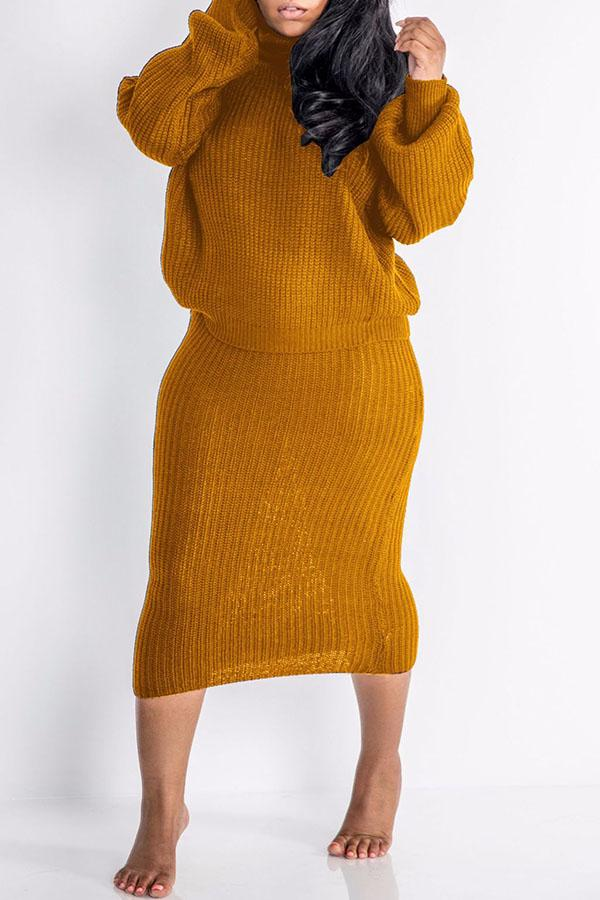 High Collar Solid Color Top Two Piece Set