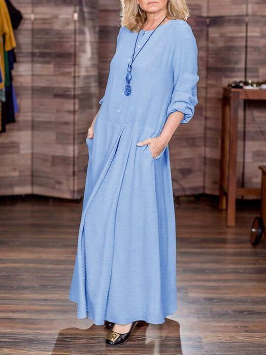 Simple Casual Loose Round Neck Long Sleeve Knitted Maxi Dress