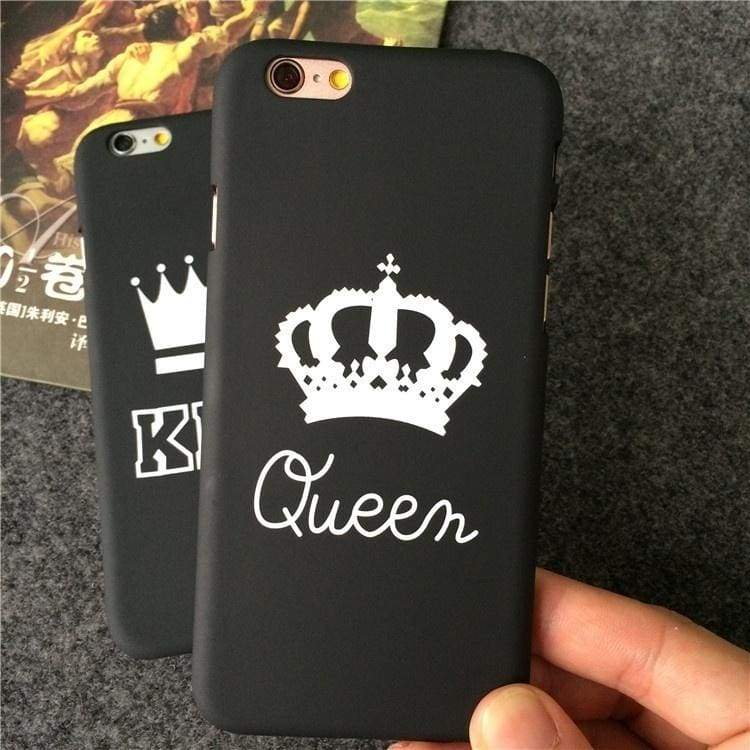 KING QUEEN Pattern Printed Phone Case Lovers Couple Hard Plastic Back Cover For iPhone 5S SE/ 6 6S/ 6 6S Plus/ 7 / 7 Plus/ 8 / 8 Plus, For iPhone X