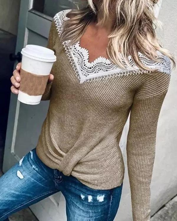 V-neck Solid Lace Panel Sweater