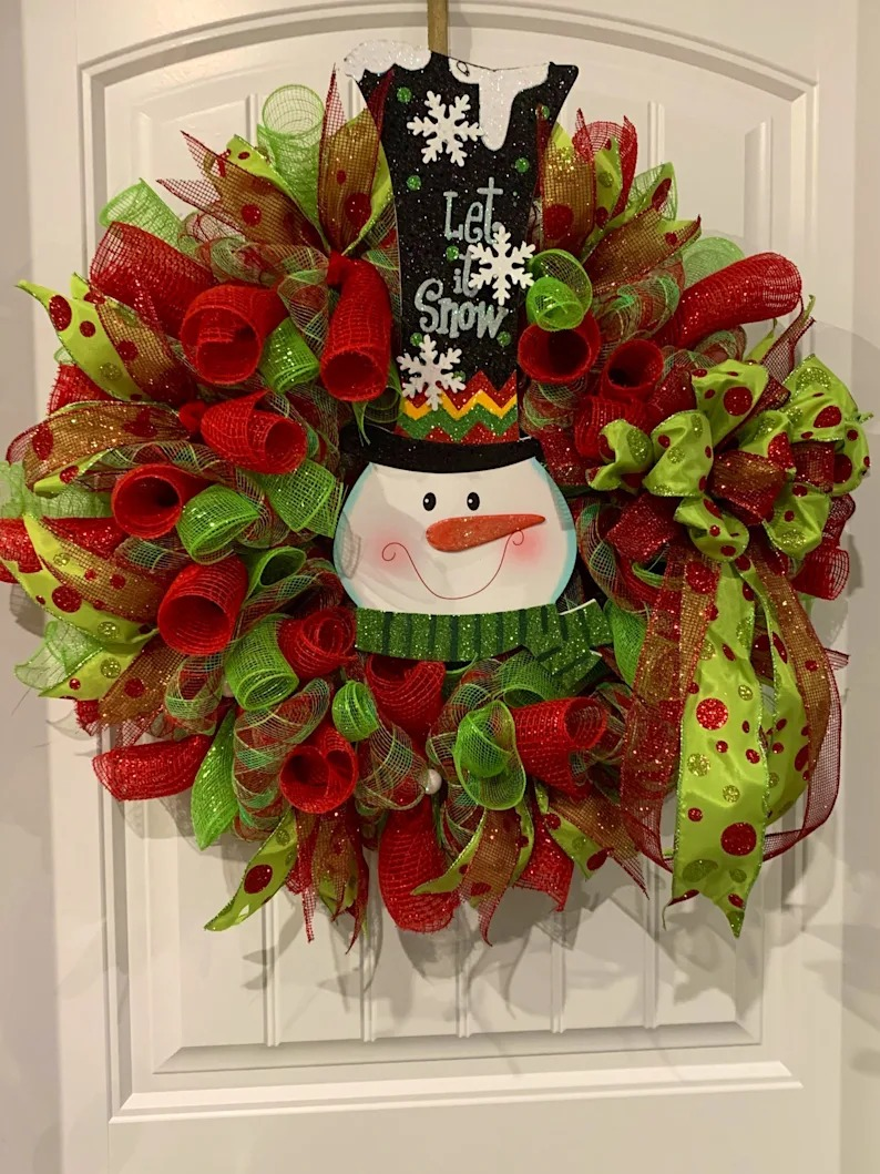 Snowman wreath, Christmas wreath,housewarming gift, gift for her, holiday wreath