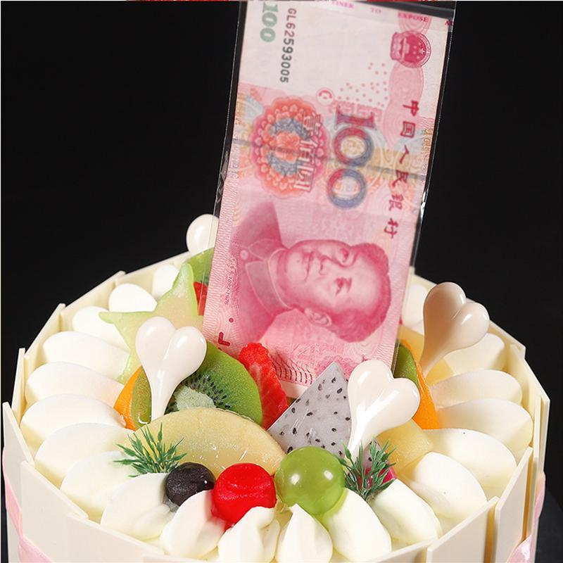 Pulling Out Surprising Money Cake Decorating Box for Birthday