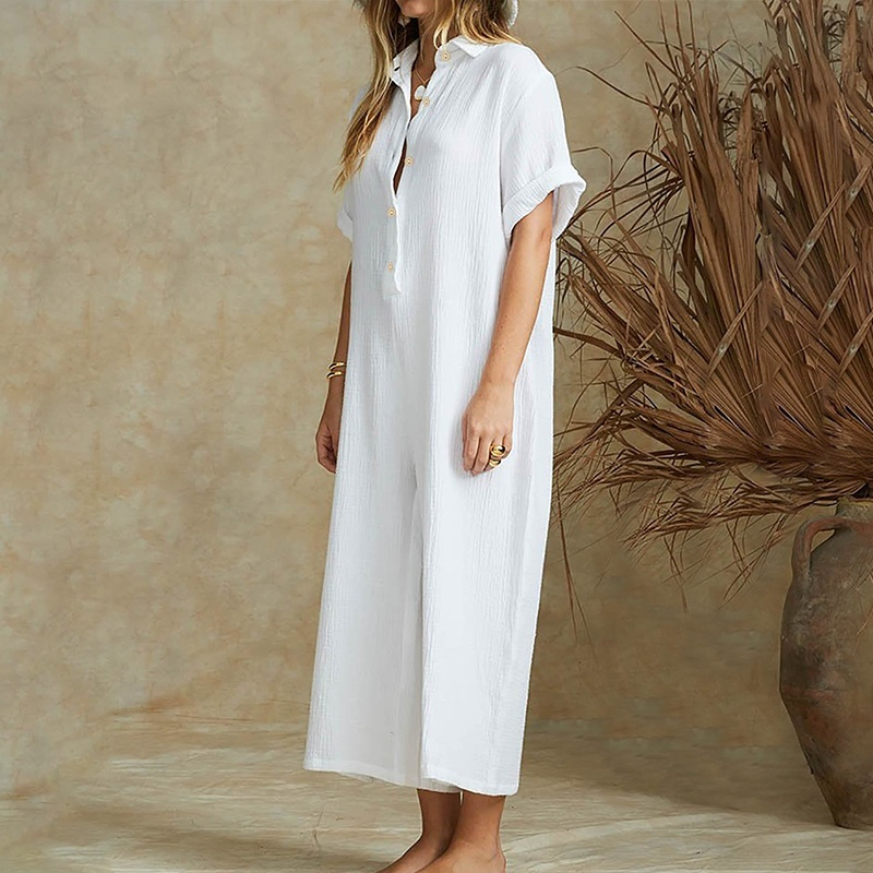Plus Size Women Wide Leg Solid Cotton Jumpsuits Buttons Down Loose Rompers Dungarees Overalls Long Pants