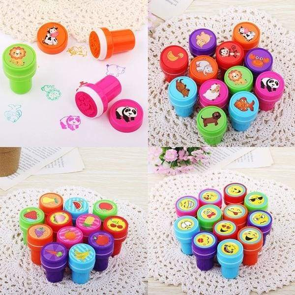 10PCS Self-ink Rubber Stamps Event Supplies Birthday Festival Gift Toys Boy Girl Gift