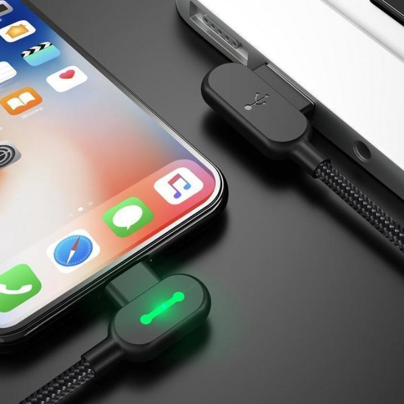90 Degree LED Right Angle Nylon Braided USB Charging Cable