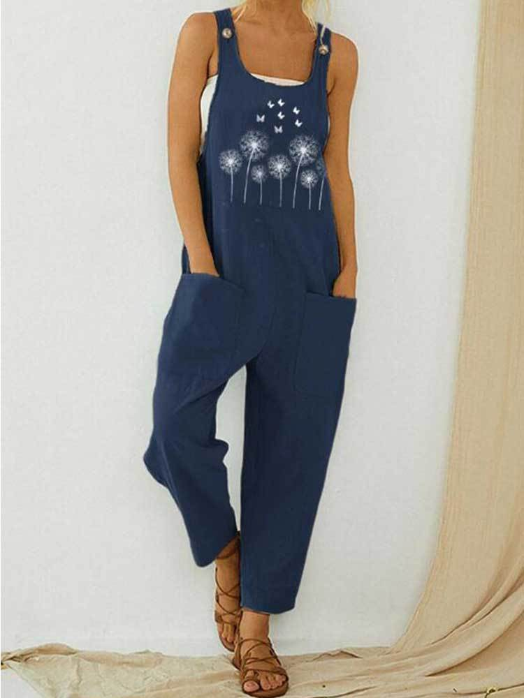 Women Butterfly Flower Print Jumpsuit