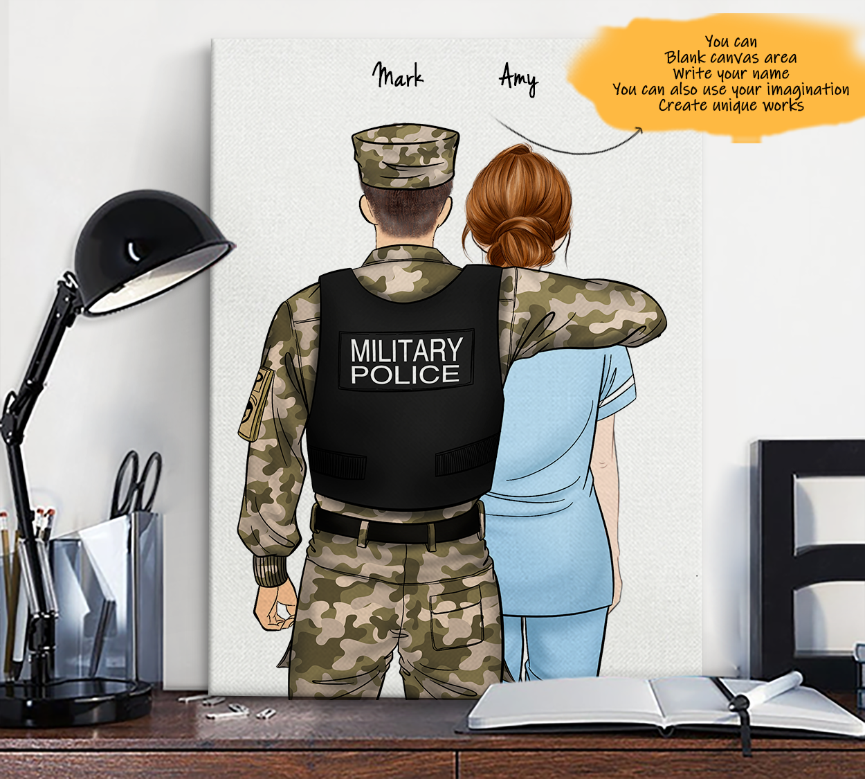 He is My Friend! Hand Draw Custom Canvas-Print Gift Military Police US-Light&Paramedic