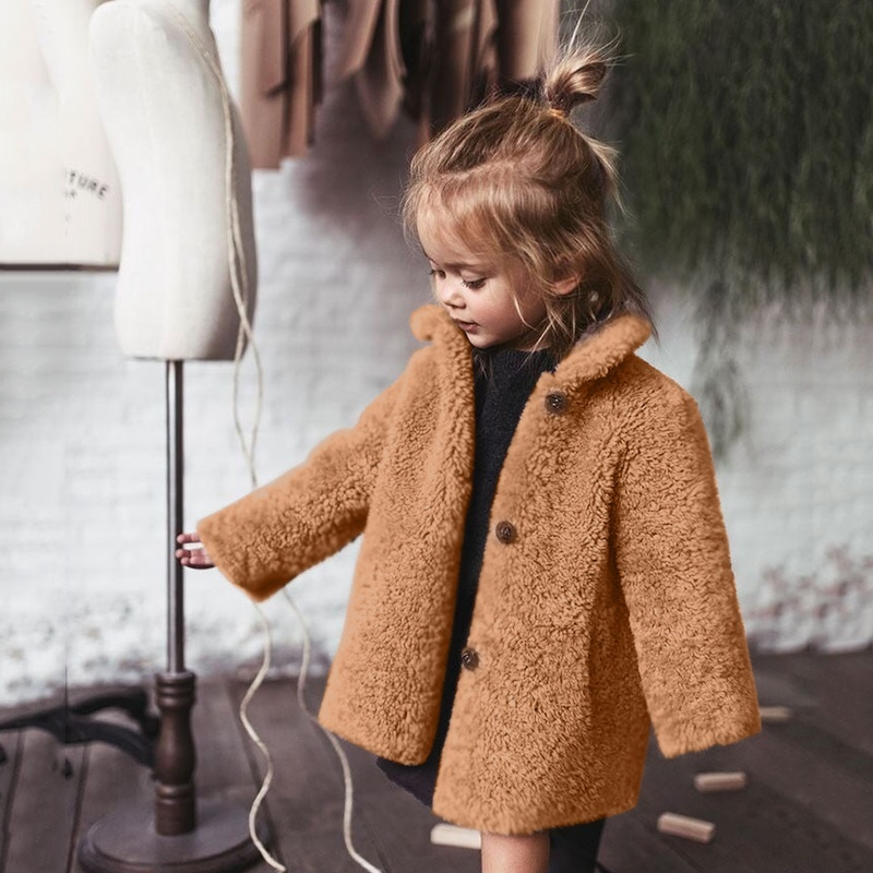 4 Color Winter New Hot Baby Girl Long Sleeve Turn Collar Coat Button Solid Color Loose Keep Warm Thick Sweet Fur Coat for 6moth-5year