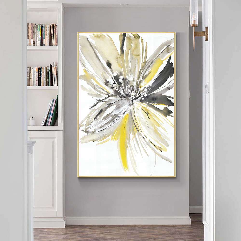 Abstract Yellow Flower Painting Hand Painted Oil Painting On Canvas Handmade Painting Modern Wall Art For Living Room Home Decor