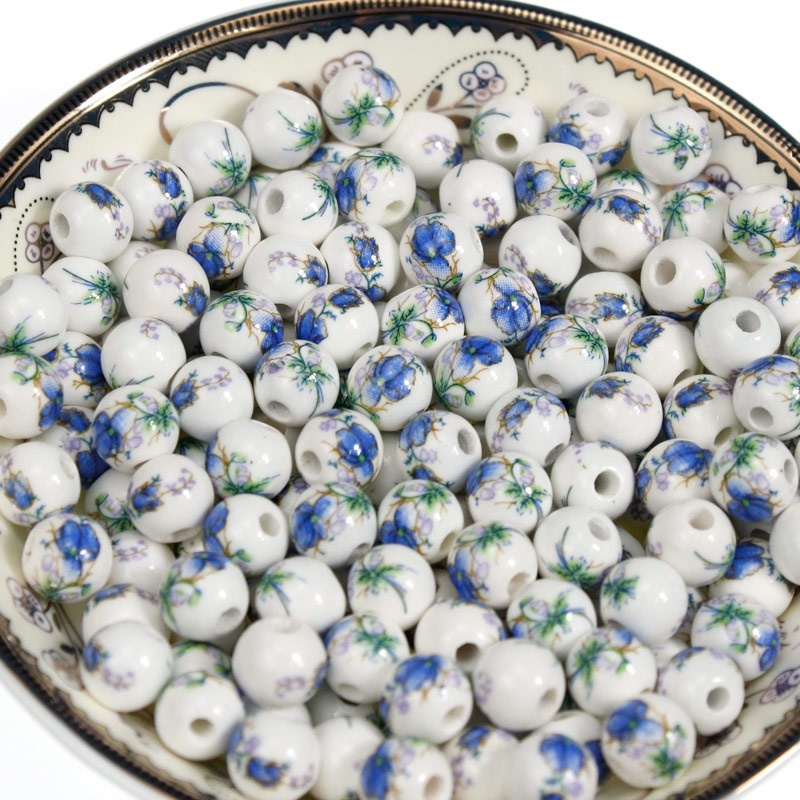 2 Color 35PCS/Bag 8mmm Ceramic Beads for Making Jewelry Lotus Pattren String Round Bead to Diy Bracelet or Necklace