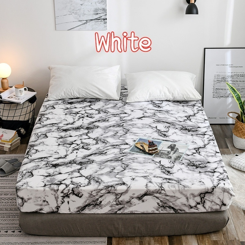 1/3Pcs Elastic Fitted Sheet Deep Pockets Up To 16 Inches Marble Printed Brushed Microfiber Mattress Covers Set Twin Full Queen King 5 Size 6 Colors (Pillowcases Optional)