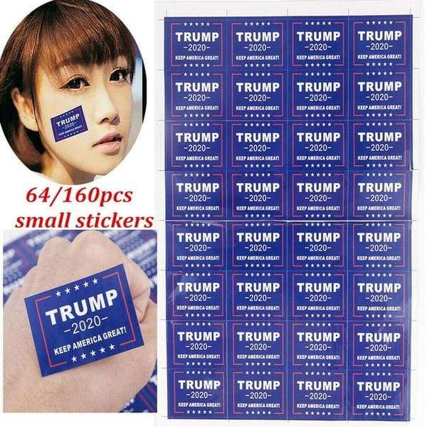 64/160pcs Trump 2020 Waterproof Stickers Keep America Great For Body Face Clothes