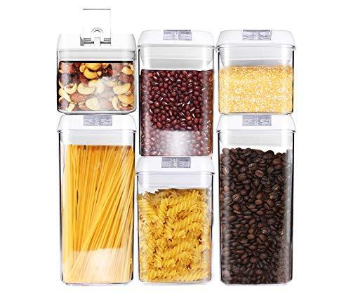 6 Piece Airtight Food Storage Containers - Kitchen Storage Set for Pantry Organi