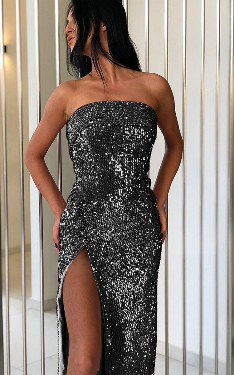 Sexy Sequined Dress With Wrapped Chest And Split Ends