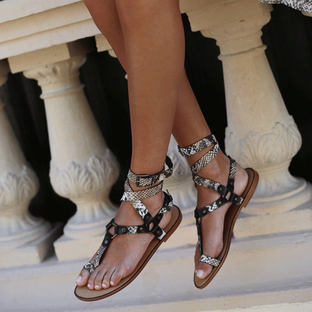 Ankle Strap Flat Heel Strappy Comfortable Sandals For Women