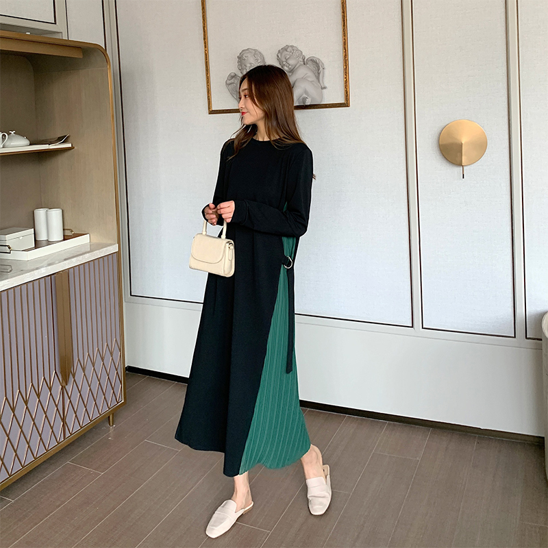 Autumn Korean round neck long sleeve dress Lace-up long dress
