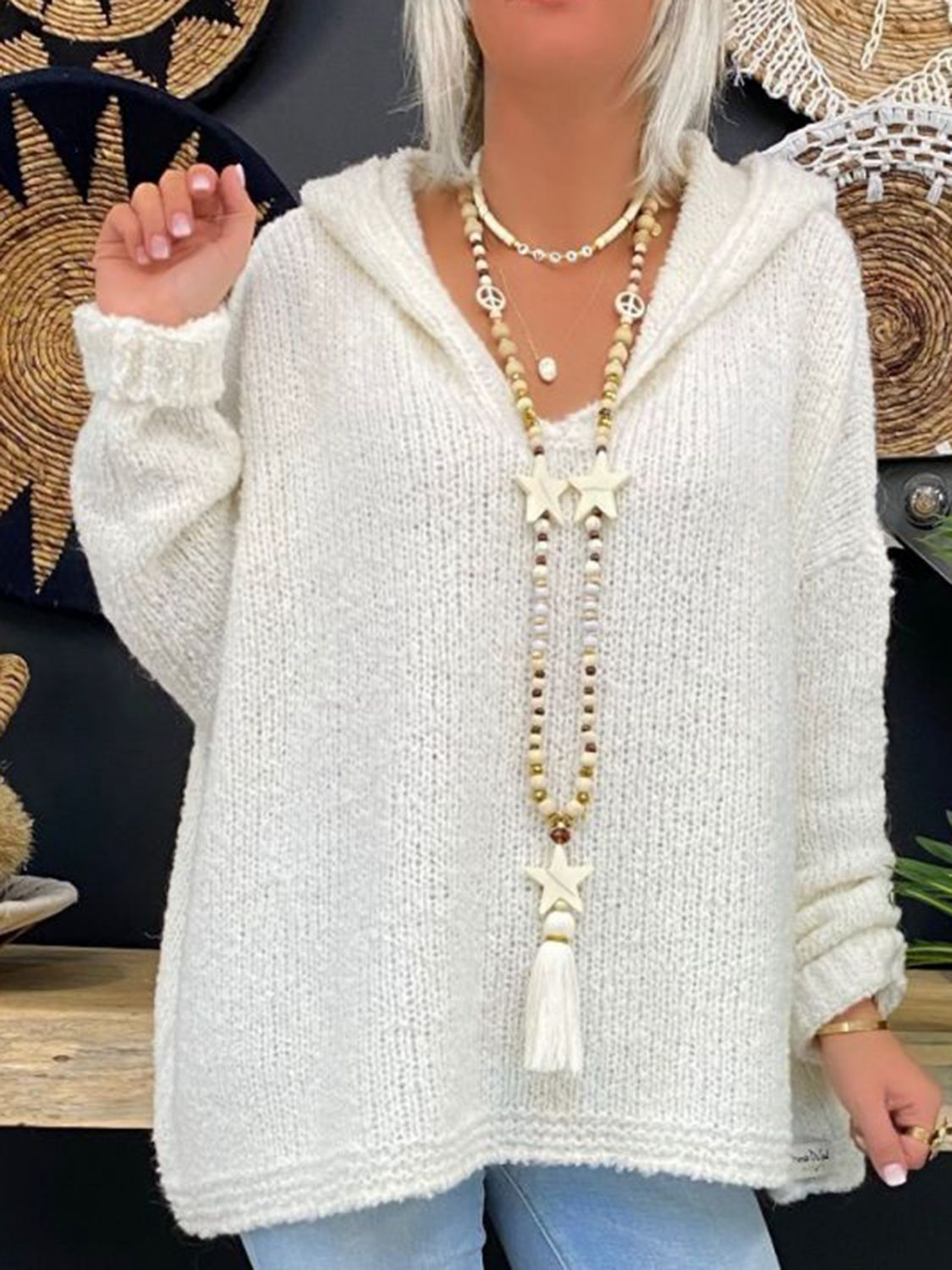 Casual Cotton,Polyester Long Sleeve with Sweater(Plus Size)