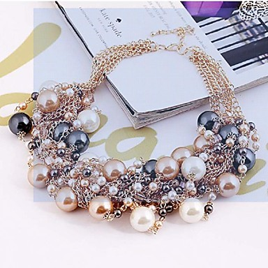 Women's Statement Necklace Pearl Necklace Ladies Luxury Festival / Holiday Color Pearl Alloy Black Pink Rainbow Necklace Jewelry For Wedding Party Special Occasion