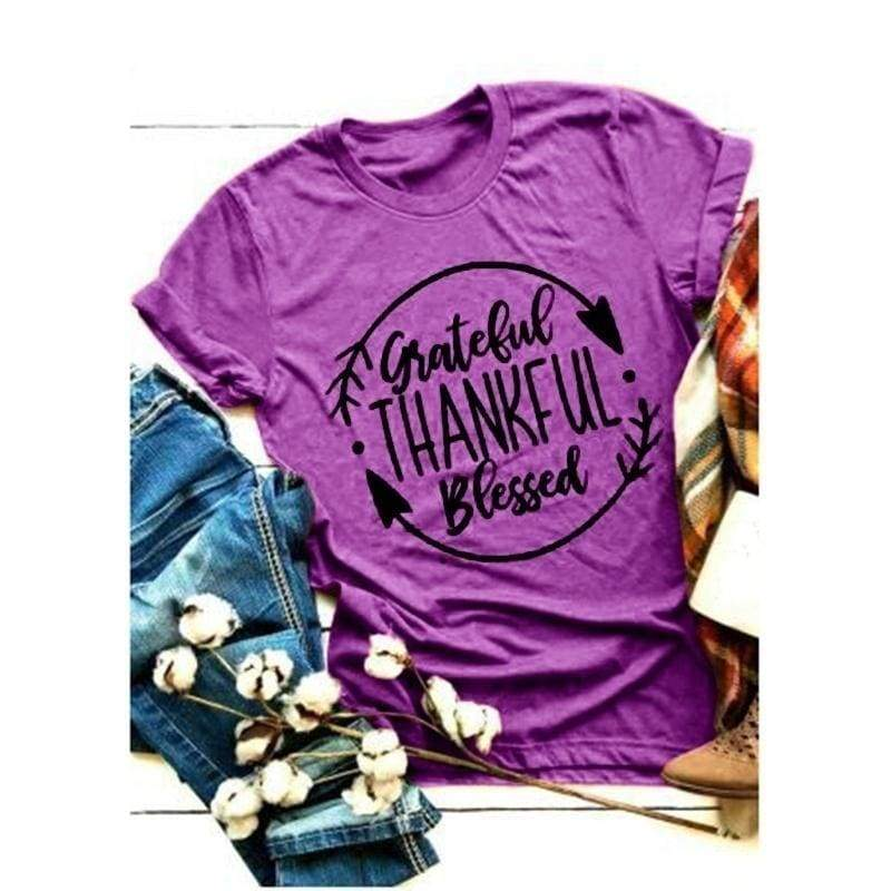 4 Colors Fashion Women Thanksgiving Day Funny Letter Printed O Neck T Shirt Grateful Thankful Blessed T-Shirt  Fashion Casual Tee Shirt Short Sleeve Loose Graphic Tops