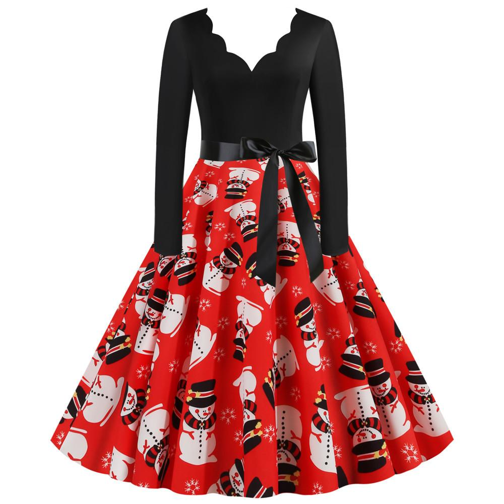 Women's big swing vintage print Chritstmas party dress A-line V-neck sexy new year party dress
