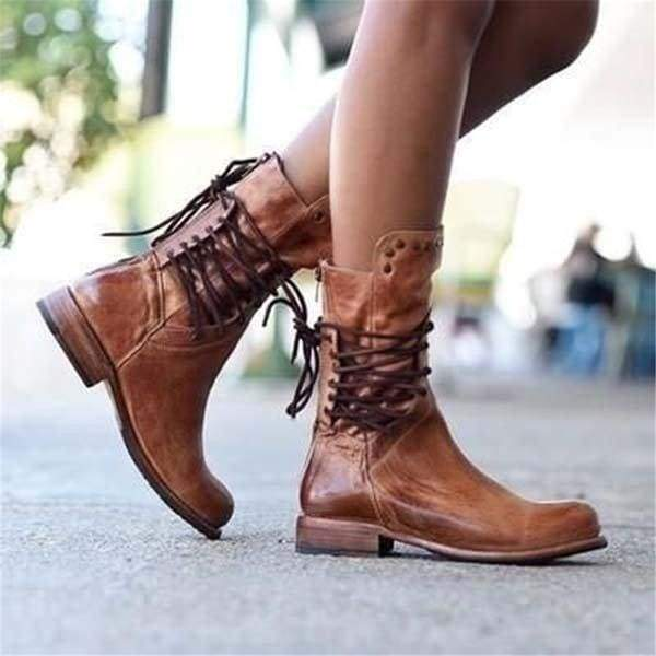 32-43 Plus Size Women's Winter Punk Style Military Motorcycle Short Boots Fashion Vintage Rivet Chunky Heel Leather Cowboy Boots Lace Up Mid Calf Boots