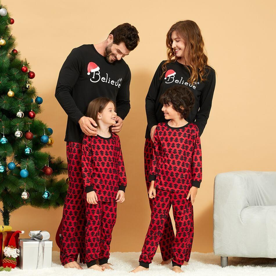 HERIN Believe Christmas Trees Printed Family Matching Pajamas Sets