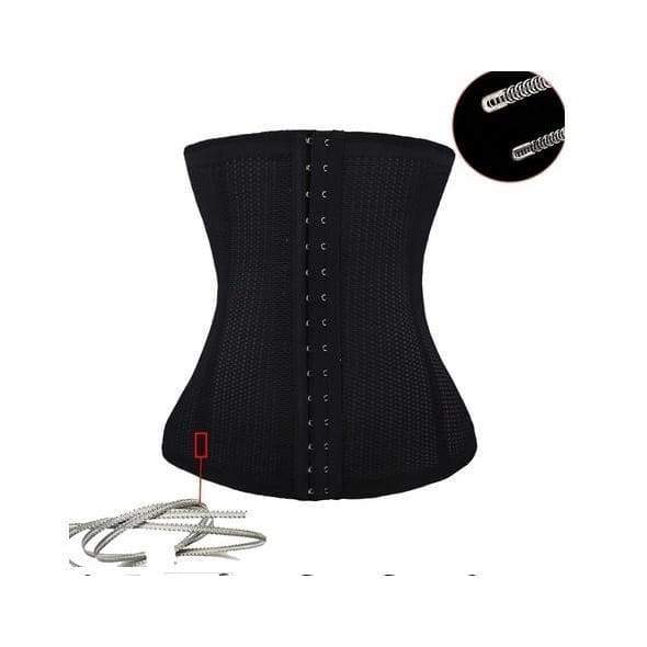 JOYMODE Christmas Gifts XXS-6XL Slimming Body Waist Tummy Trimmer Black 4 Steel Bone Women's summer breathable Waist Trainer Cincher Tummy Belt Sport Underbust Control Corset Body Shaper Black Shapewear Girdle belt