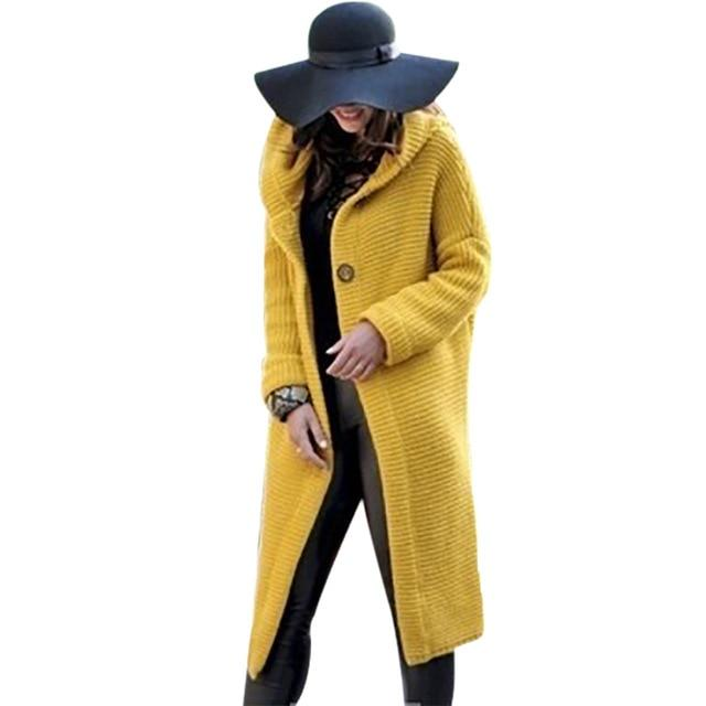 Women's hooded long knitted cardigan solid color long sleeve sweater