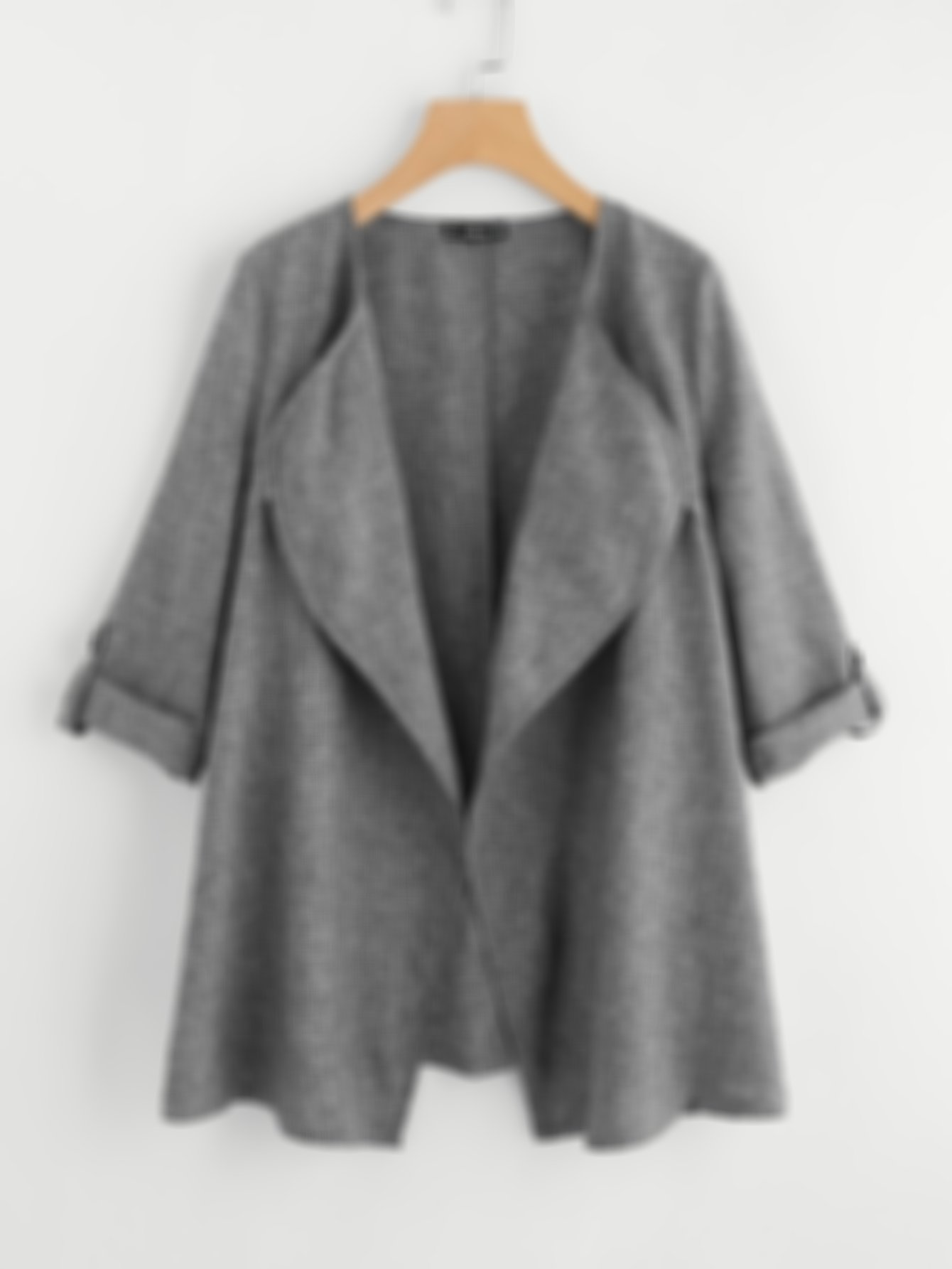 SHEIN Rolled Up Cuff Drape Collar Marled Coat