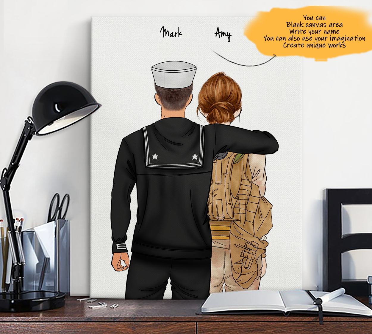 He is My Friend! Hand Draw Custom Canvas-Print Gift NavyUS-Tan&Soldier1