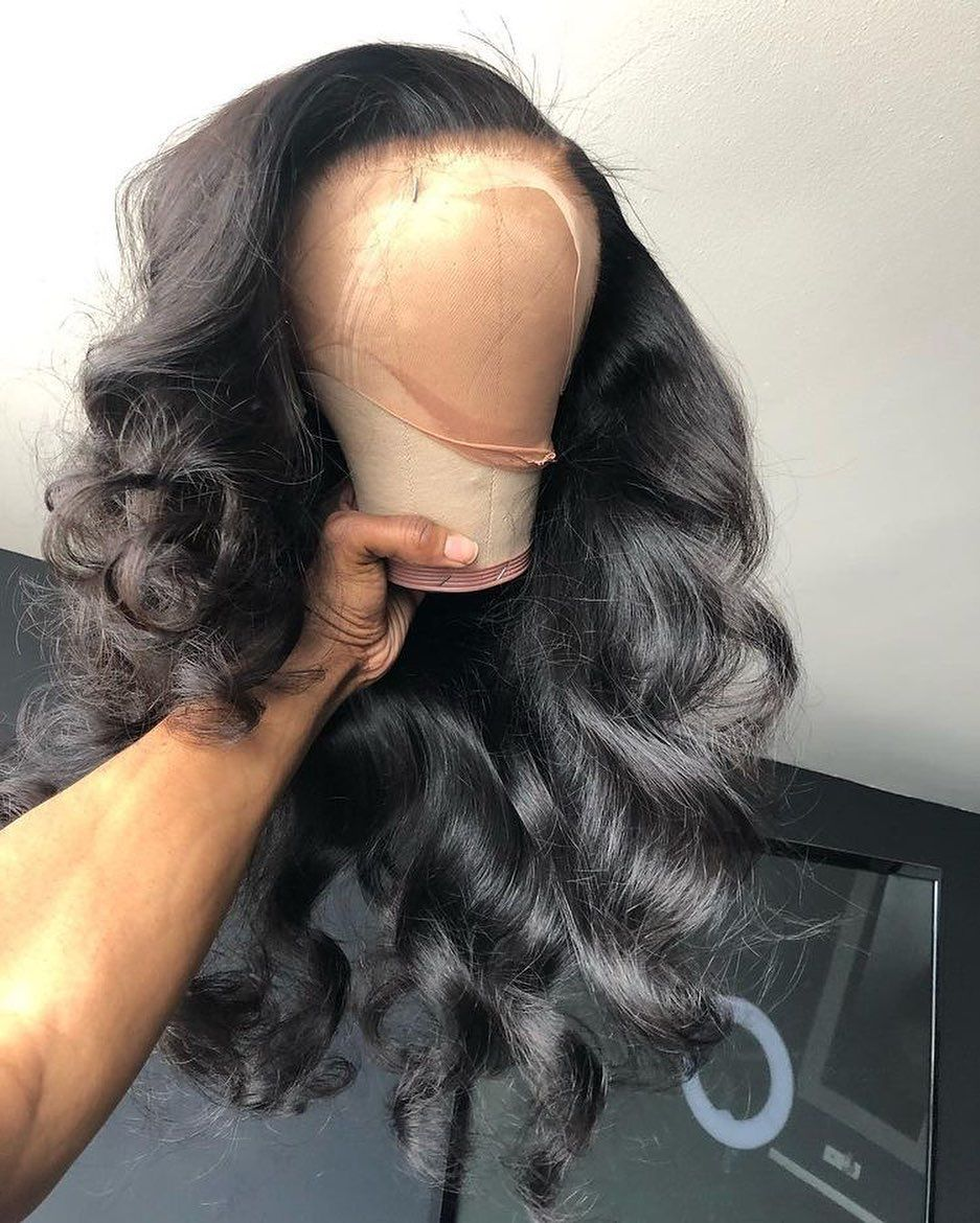 Black Wigs For Black Women Loose Wave Weave Black Lace Front Wig With Bangs Wavy Frontal Wig 360 Body Wave Wig