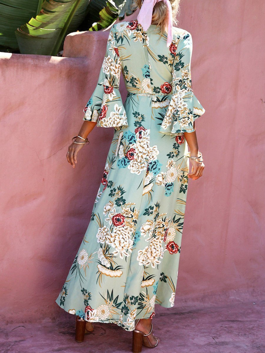 Women Painted Paneled Ruffled Color-block Beach Maxi Dress