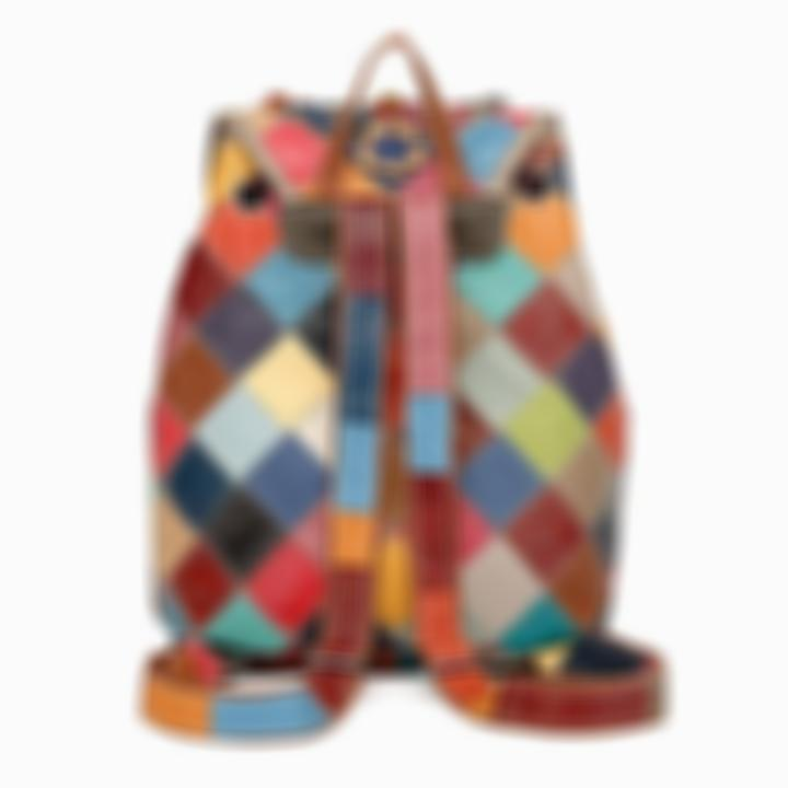 Genuine Leather Anti-theft Multicolor Flower Backpack