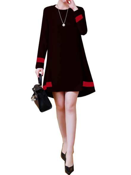 Cotton, Polyester Long Sleeve Round Neck Plain With Dresses(Plus Size)