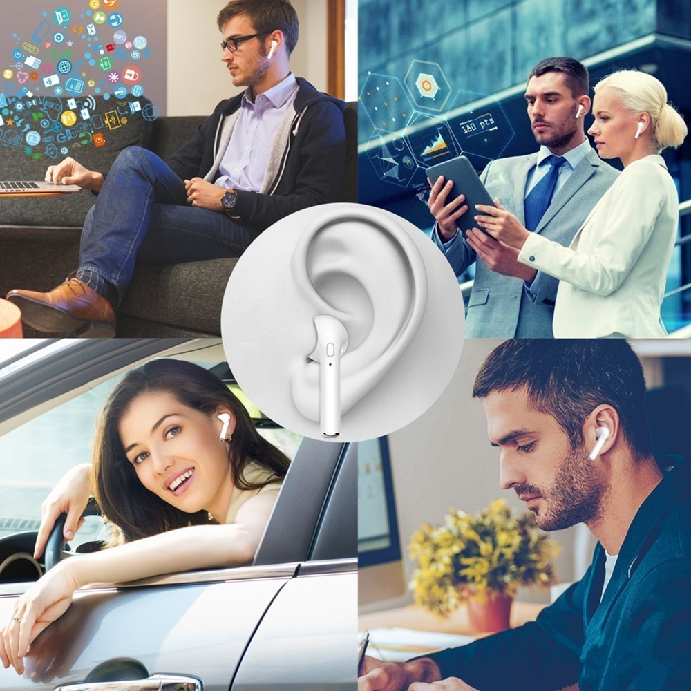 HBQ-I7 Wireless Earphone Bluetooth Stereo Handsfree Headset  with or without Charge Station