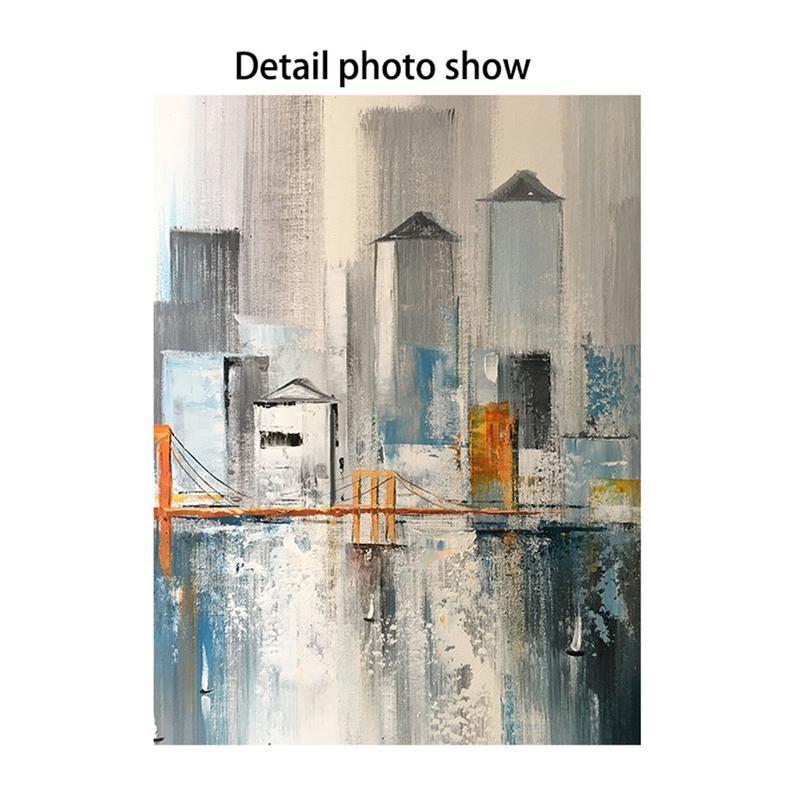 2 pieces acrylic abstract painting on canvas wall art pictures for living room bedroom home decoration wall decor original texture cityscape